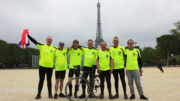University cyclists reach Paris after 24-hour race for refugees