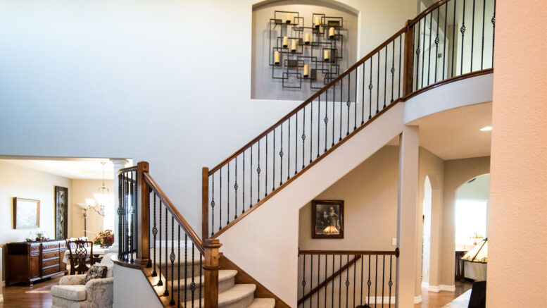 Stair Case In Lit Up House