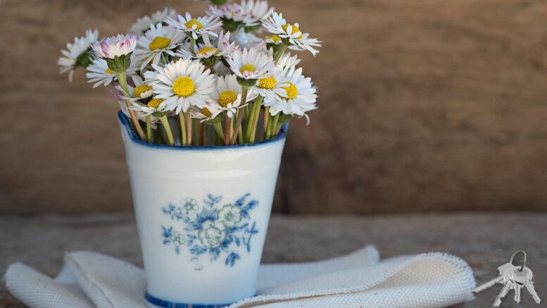 Marguerites In Vase By Keys